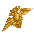 Golden emblem with sword and double-headed eagle vector image