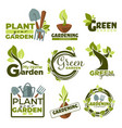 green garden isolated icons gradening tools and vector image