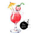 hand drawn sketch watercolor cocktail daiquiri vector image vector image