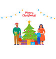 happy family decorating christmas tree holidays vector image vector image