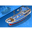 Isometric Fishing Boat Isolated in Front View vector image