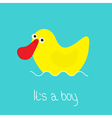 Its a boy Baby shower card with funny yellow duck vector image