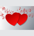 Love Music with Hearts and Notes on White vector image vector image
