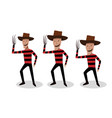 man in freddy krueger costume in design vector image vector image