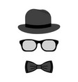 men accessories hat glasses and bow ties vector image
