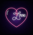 neon sign the word love with heart vector image vector image