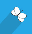 One Butterfly Icon in Flat Style with Long Shadow vector image