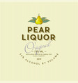 pear liquor label vintage packaging pear alcohol vector image vector image
