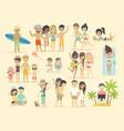people on beach vector image