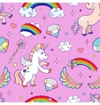 Pink hand drawn unicorns seamless pattern vector image