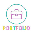 portfolio round bright linear web icon template vector image