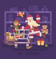 santa claus riding a shopping cart with his elf vector image