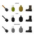 sapper blade hand grenade army flask soldier vector image vector image