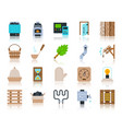 sauna equipment simple flat color icons set vector image vector image
