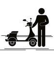 scooter motorcycle with driver silhouette vector image vector image