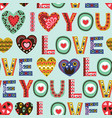 seamless pattern with vintage hearts and word love vector image