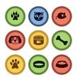 set cat and dog icons in retro style vector image vector image