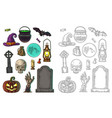 set for halloween party color vintage vector image vector image