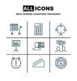 set of 9 project management icons includes vector image vector image