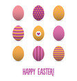 set of colorful realistic easter eggs vector image vector image