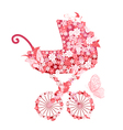 stroller of flowers for girls vector image vector image