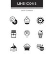 sweets - set of line design style icons vector image