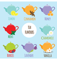 Tea flavours types vector image