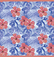 tropical winter red hibiscus cold blue palm vector image vector image