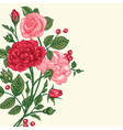 Vintage background with a bouquet of roses vector image vector image