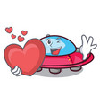 with heart ufo mascot cartoon style vector image