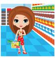 woman cartoon in a supermarket vector image vector image