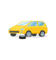 yellow car with punctured tire flat vector image vector image