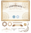 Certificate or coupon template with vintage border vector image