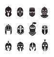 Warrior helmets black icons or logos set Knight vector image