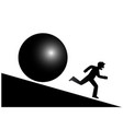 a man runs from a mountain from a threat vector image vector image