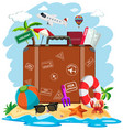a suitcase in summer beach vector image vector image
