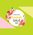 abstract flower summer sale background with frame vector image vector image