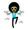 afro flying vector image vector image