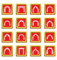 arch types icons set red square vector image vector image