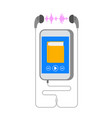 audiobook on smartphone with earphone flat concept vector image