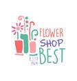 best flower shop logo estd 1969 element for vector image vector image