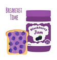 blackberry jam in glass jar toast with jelly vector image vector image