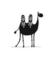 camel black silhouette sketch for your design vector image vector image