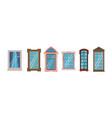cartoon windows frames colorful various wooden vector image vector image