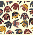 christmas holiday sweaters seamless pattern vector image vector image