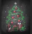 christmas tree with gift wrapped boxes vector image