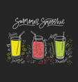 collection of smoothies made of tasty fresh fruits vector image vector image