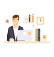 Content Smiling Man Office Worker In Office vector image