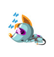 cute robot dog lying on the floor and sleeping vector image vector image