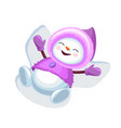 cute snowman making snow angel isolated on white vector image